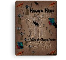 Funny Moose Map Canvas Print