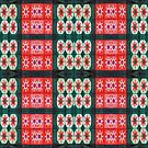 Red Green stars flowers pattern by donnagrayson