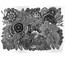 Kuntuman #2 black and white doodle art Poster