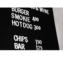 Fast Food Board Photographic Print
