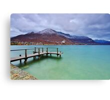Autumn snow over the lake in Annecy Canvas Print