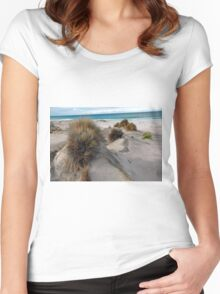 White sandy beach. Women's Fitted Scoop T-Shirt