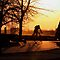Early Morning Cyclist... by Larry Trupp