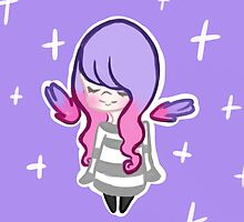pink and purple haired girl by Kiwii-Kitten