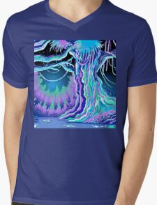 Magic Tale Blacklight Forest Background Mens V-Neck T-Shirt