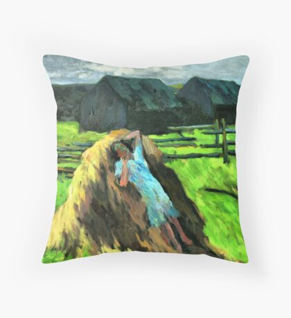 Girl on hay stack Throw Pillow