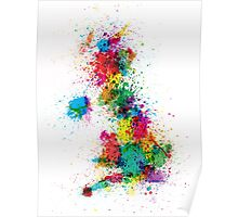Great Britain UK Map Paint Splashes Poster