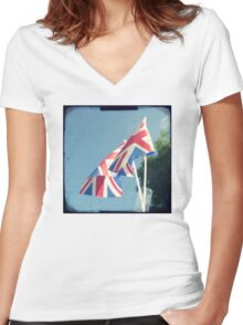 Flags - Union Jacks in a blue sky Women's Fitted V-Neck T-Shirt