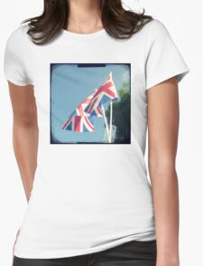 Flags - Union Jacks in a blue sky Womens Fitted T-Shirt