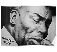 Howlin' Wolf (ink drawing) Poster