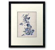 Great Britain UK Watercolor Map Framed Print