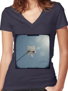 Windmill in a blue sky Women's Fitted V-Neck T-Shirt