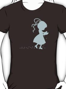 Flower girl in blue spreading flowers T-Shirt