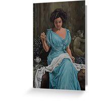 Vintage, Oil painting woman Greeting Card