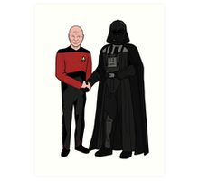 Picard and Vader - Shaking Hands - Can't We All Just Get Along? Art Print