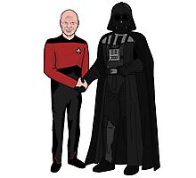 Picard and Vader - Shaking Hands - Can't We All Just Get Along? Photographic Print