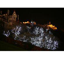 Edinburgh Castle and Christmas trees  Photographic Print