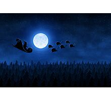 Christmas: Santa Flying 1 Photographic Print