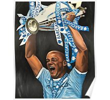 Vincent Kompany lifting Barclays trophy Poster