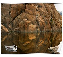 Rowboat Reflections Beneath a Dells Monolith  Poster