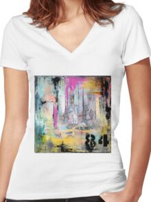 New York Times Square and Taxi Series #84 Women's Fitted V-Neck T-Shirt