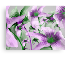 Lilies Collage Art in Green and Violet Colors Metal Print