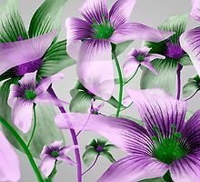 Lilies Collage Art in Green and Violet Colors by DFLC Prints