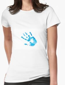 Watercolor hand print Womens Fitted T-Shirt