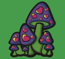 Heart Love Mushrooms Purple and Pink  Kids Clothes