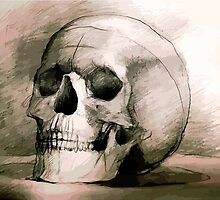 Hand drawing scull by three-legged