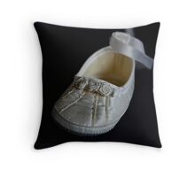 The Christening Shoe Throw Pillow