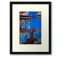Dripping on Blue Framed Print