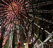 Ferris wheel and christmas tree lights by ljm000