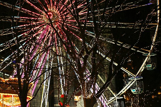 Ferris wheel and christmas tree lights by Linda More