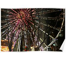 Ferris wheel and christmas tree lights Poster