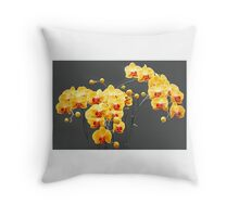 Yellow-red  orchids Throw Pillow