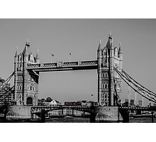 Red London Bus crossing Tower Bridge  Photographic Print