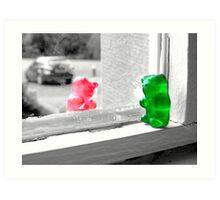 Green And Red Gummy Bear Love Art Print