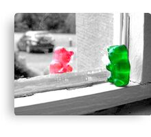 Green And Red Gummy Bear Love Canvas Print