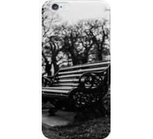 Bench with eaves dropping trees iPhone Case/Skin