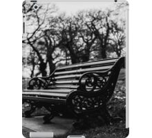 Bench with eaves dropping trees iPad Case/Skin
