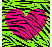 Pink Heart Lime Green Zebra Photographic Print