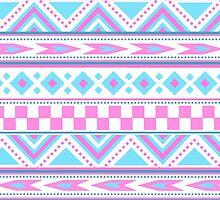 Tribal pattern pink blue by tjc555