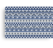 Geometric pattern Navy and silver Canvas Print