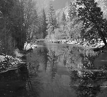 Merced River Winter Reflections by Stephen Vecchiotti
