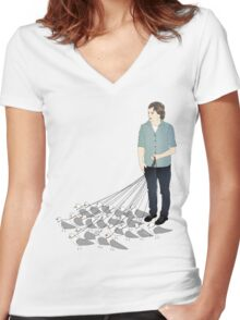 Camerons pet seagulls Women's Fitted V-Neck T-Shirt