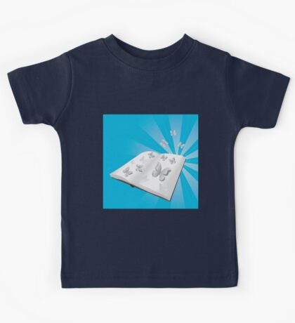 Butterfly cut out of book Kids Tee