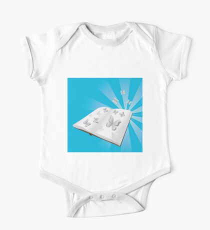 Butterfly cut out of book One Piece - Short Sleeve