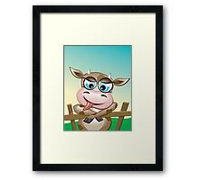 Critterz-Brown Cow - cheeky agnes Framed Print