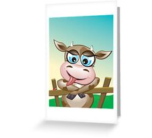 Critterz-Brown Cow - cheeky agnes Greeting Card